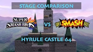 Hyrule Castle 64 Stage Comparison! (64 vs. Wii U)