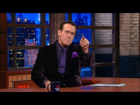 Bruce Campbell Takes Over Stephen Colbert's show