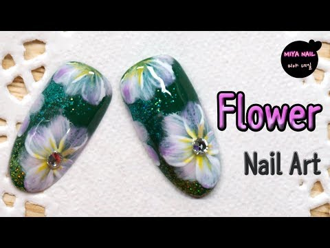 Flower Nail Art with Glitters (Flower Painting, Tutorial, Gel nails)