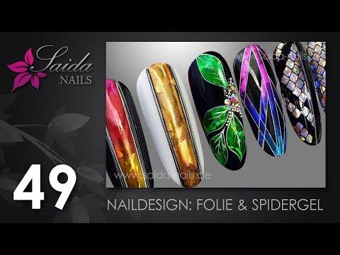 Gel nails - Naildesigns mit FOLIE & SPIDERGEL (Painting Line Gel)  (Saida Nails Nailart)
