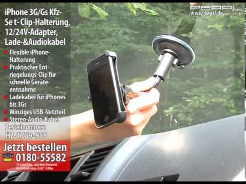 Kfz-Set für iPhone 3G/Gs Clip-Halterung, 12V-Adapter, Lade-&Audiokabel