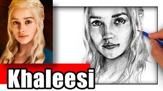 Drawing Daenerys Tagaryen with graphite pencils. Drawing was done with 4B and 6B pencil on regular print paper.
