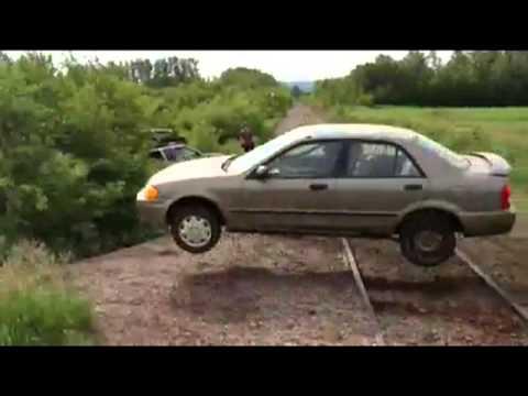 Mazda successfully jumps through a trailer