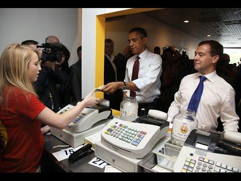 Поведение Медведева и Обамы в забегаловке. Анализ языка тела - DomaVideo.Ru