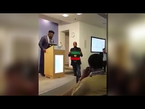 Rochas Okorocha's Lecture At Chatham House In London Disrupted By IPOB Members