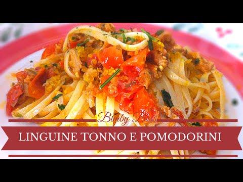 video ricetta: bimby - linguine tonno e pomodorini.