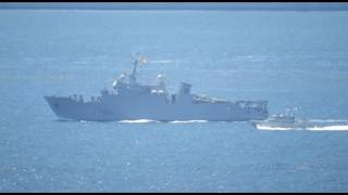 French Navy Mine-warfare vessel FS THETIS was seen sailing through Gibraltar waters flying a large spanish courtesy flag.