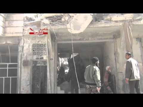 حلب : قصف الطيران الحربي على حي قصر البيك