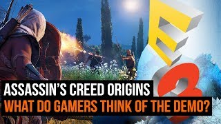 Assassin's Creed Origins was playable at E3 2017 this year and the public got to go hands on for the first time. Here's what they thought of the Gameplay demo. For more from GamesRadar Subscribe: http://goo.gl/cnjsn1http://www.gamesradar.comhttp://www.facebook.com/gamesradarhttp://www.twitter.com/gamesradarhttp://www.twitch.tv/gamesradar
