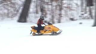 4. 4-year old drives Ski-doo Mini-Z snowmobile