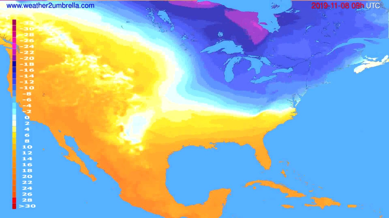 Temperature forecast USA & Canada // modelrun: 12h UTC 2019-11-06