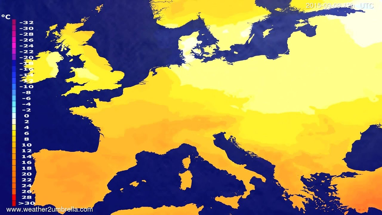 Temperature forecast Europe 2015-09-06