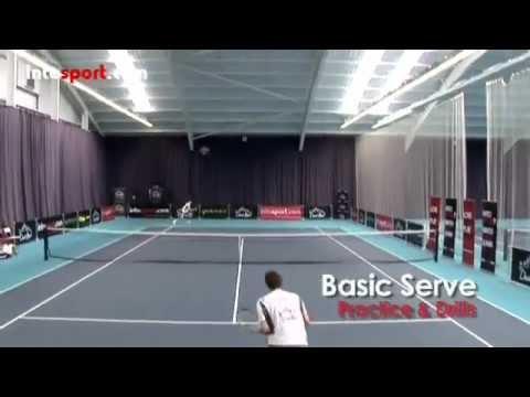 Học Tennis_Kỹ thuật Giao bóng cơ bản_ bài 1_ thế chân_ Vung vợt_Lỏng tay và Lưng