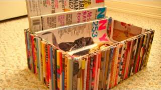 DIY Recycled Magazine Organizer - YouTube