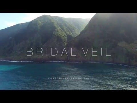 Madeira Waterfall - Bridal Veil (Veu de Noiva) in Seixal - Porto Moniz - Drone View