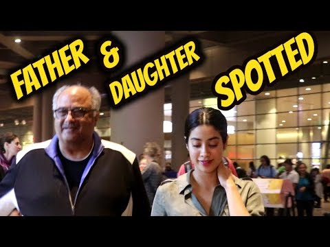 Amazing Daughter Father Duo Jhanvi Kapoor & Boney Kapoor Spotted At Airport