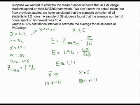 Confidence Intervals: Estimating a Population Mean (Pop. Standard Deviation is Known)