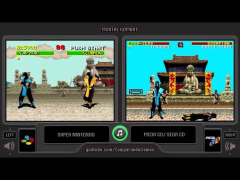 Mortal Kombat (Snes vs Sega Cd) Side by Side Comparison