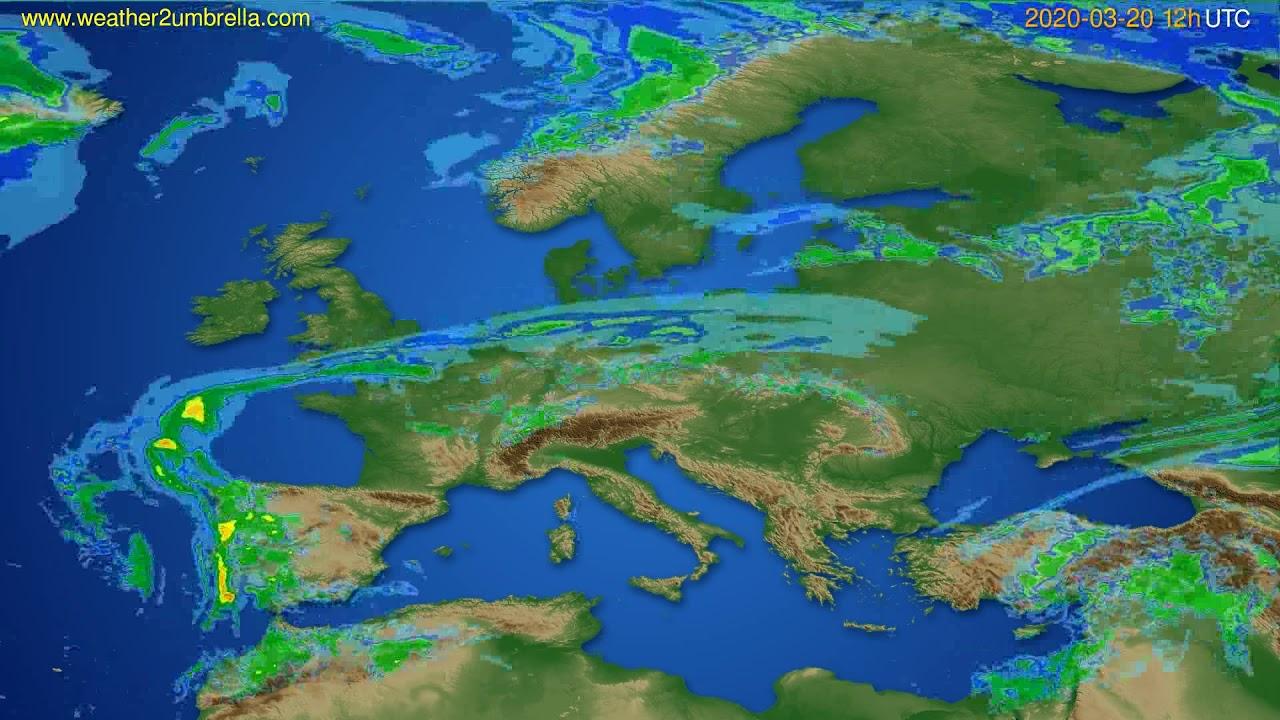 Radar forecast Europe // modelrun: 00h UTC 2020-03-20