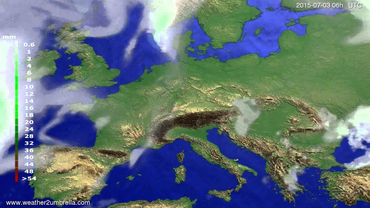 Precipitation forecast Europe 2015-06-30