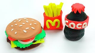 Play Doh McDonald's Hamburger Fries Coca-Cola Restaurant Playset   Learn Colors Play Doh for Kids