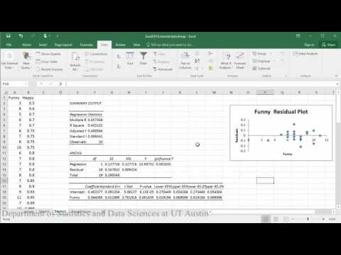 Residual Plots for Checking Assumptions in Excel 2016
