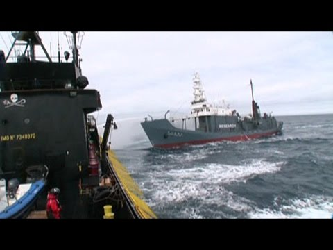 Water Cannon Battle in Frigid Seas between the Steve Irwin and Japanese tail ship Shonan Maru No. 2