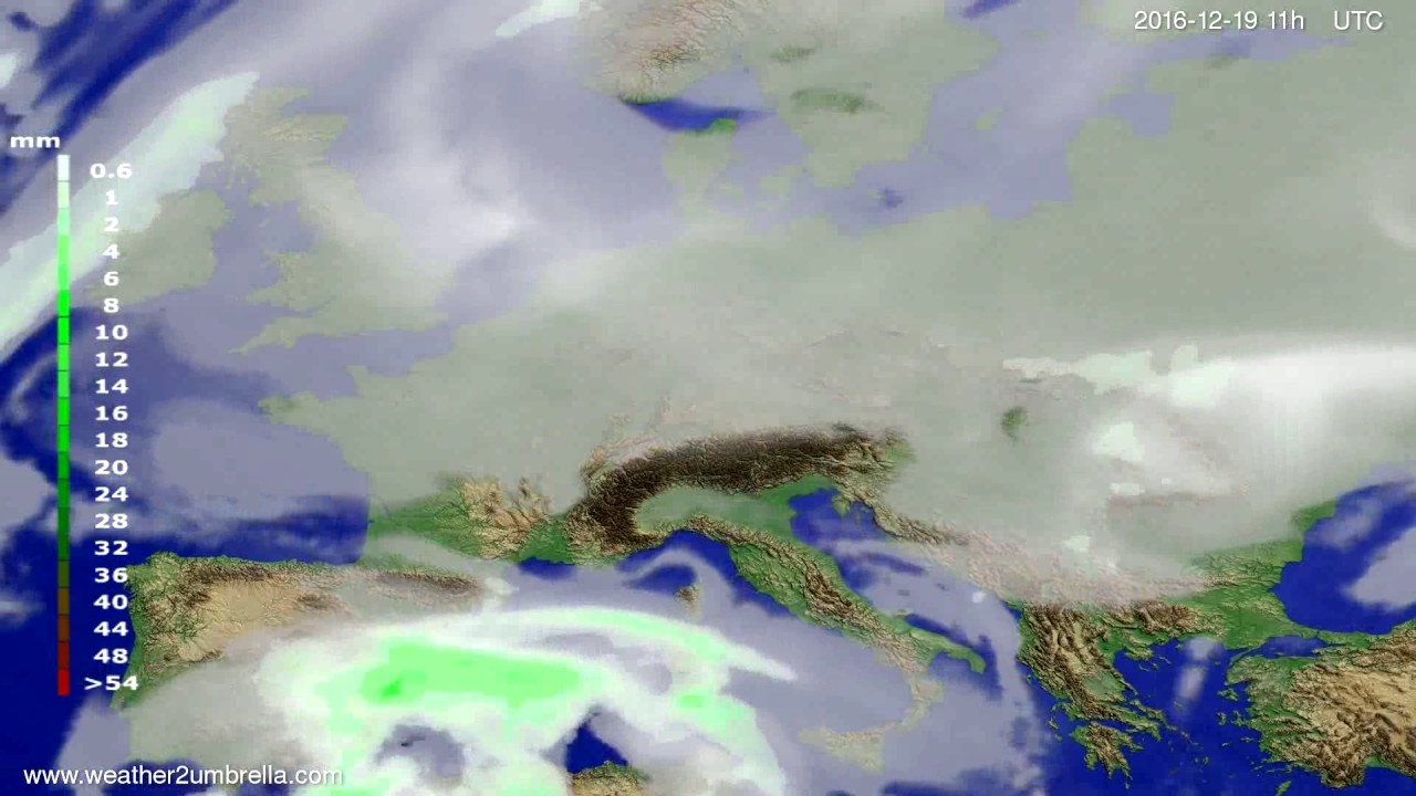 Precipitation forecast Europe 2016-12-16