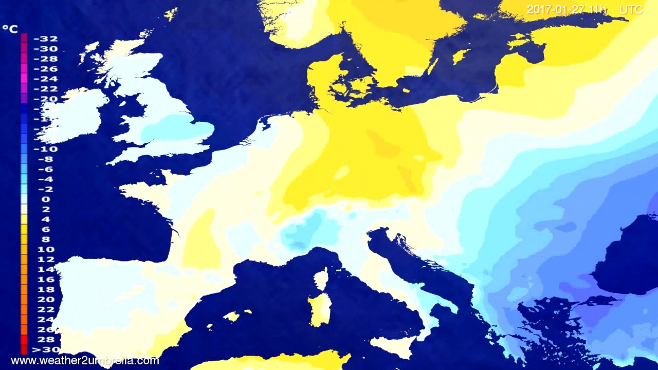 Temperature forecast Europe 2017-01-24