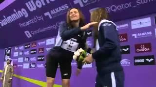 Melani Costa Podium Copa del Mundo Doha 2013 - Oro 400 libres