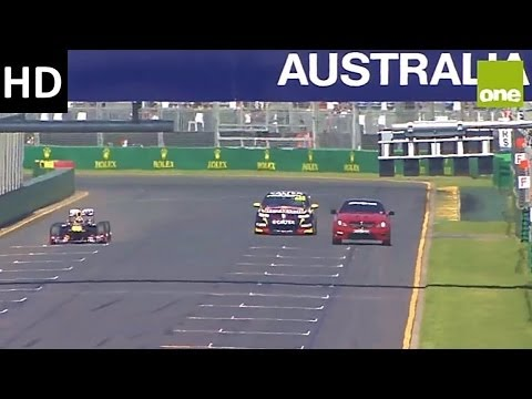 F1 - JUMP TO 5:33 TO GO STRAIGHT TO THE START OF THE RACE Speed comparison race at the Australian Formula 1 Grand Prix 2014. David Coulthard (F1) vs Steven Richa...