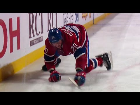Video: Canadiens' Deslauriers slips during celebration after scoring against Bernier