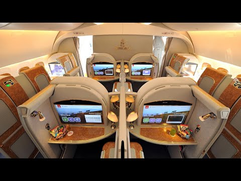 Emirates A380 First Class Dubai to Amsterdam (+ lounge): a trip report (видео)