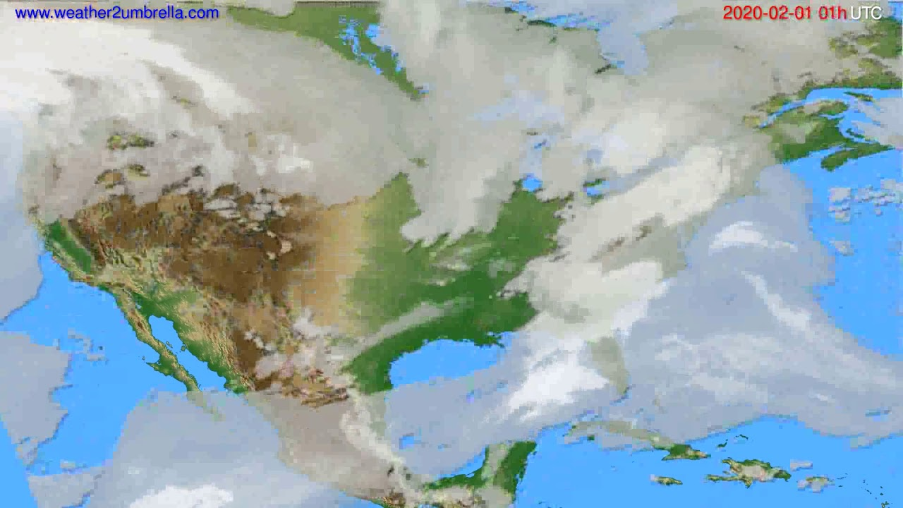 Cloud forecast USA & Canada // modelrun: 12h UTC 2020-01-30