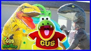 Giant Dinosaur Bunch O Balloons Water Balloons Toy Hunt with Ryan's World Toys!!