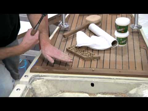 teak - Part 2 of a tutorial from Boatworks Today on how to fabricate and install a small teak deck as a highlight on your boat using materials from Teak Decking Sys...