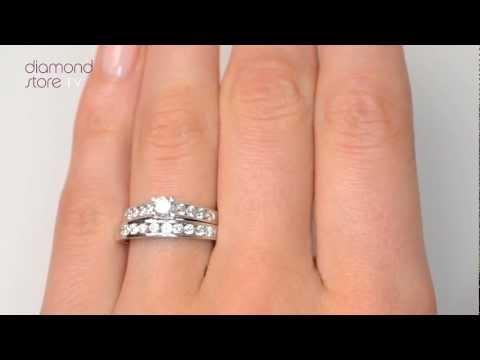 SDN3228 - Steeple Diamond 0.88ct And Platinum 2 Ring Bridal Set