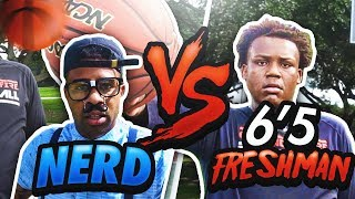 Nerd playing 1v1 basketball against a 6'5 HIGH SCHOOL FRESHMAN in the hood ..neighbor(hood)!!!! Loser has to endure a painful punishment!!80K likes for the next challenge!!!Follow him on Instagram & show him some love - https://www.instagram.com/fly_xx33/Click here to subscribe to my channel ! - https://www.youtube.com/user/prettyboyfredo?sub_confirmation=1 New videos posted weekly.Click here to subscribe to our Couples Channel!!! Fredo & Jas -https://www.youtube.com/channel/UCsRgkVhvNauSgwiGagws_gw?sub_confirmation=1All of my official social media links!!!Instagram-  https://www.instagram.com/prettyboyfredo/Twitter-  https://twitter.com/PrettyboyfredoBe sure to follow me on Twitch- http://www.twitch.tv/prettyboyfredo
