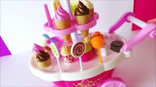 Video Toy ice cream cart learn colors names of foods lollipop candy chocolate strawberry ice cream kids to MP3, 3GP, MP4, WEBM, AVI, FLV Oktober 2017