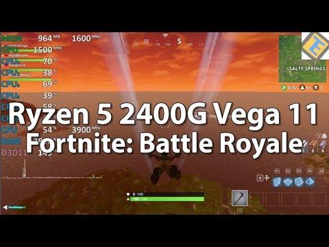 Ryzen 5 2400G Review Fortnite: Battle Royale. GPU@1500Mhz Gameplay Benchmark. Vega 11 iGPU