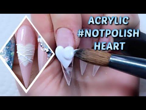 Gel nails - LONG STILETTO ACRYLICS  HEARTBREAK VALENTINES DAY NAILS  4D ROSE