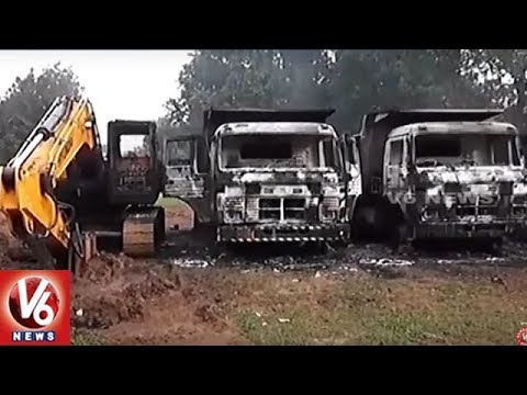Maoists Torch Railway Trucks And JCB Vehicles In Dantewada