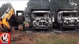 Maoists Torch Railway Trucks And JCB Vehicles In Dantewada