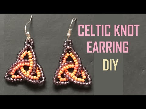 Beaded Celtic Knot Earring With Herringbone Stitch