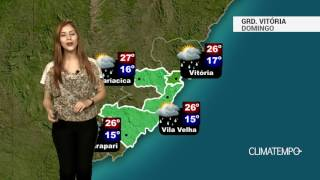Boletim de previsão do tempo contendo informações sobre as imagens de satélite, previsão, temperatura mínima e máxima prevista e a tendência do tempo para os...