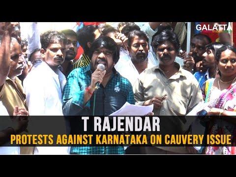 T-Rajendar-protests-against-Karnataka-on-Cauvery-Issue