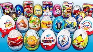 """Unwarping 23 different surprise eggs from the Mickey Mouse Clubhouse, Winnie Pooh, Pixar Cars, SpongeBob, Furuta Eggs from Japan, Pokemon, Tsum Tsum, Frozen, Minnie Mouse, Monsters University, Super Mario 3D World, Flinstones, Disney Princess, Kinder Joy Marvel, Planes Fire and Rescue, Maya the Bee, Angry Birds, Star Wars, Little Mole, Kinder Surprise Finding Dory, Spiderman and others. There're only chocolate surprise eggs with awesome surprise toys and your favourite heroes figures.Music:""""Cipher"""", """"Sunshine"""", """"Inner Light"""" Kevin MacLeod (incompetech.com)Licensed under Creative Commons: By Attribution 3.0http://creativecommons.org/licenses/by/3.0/© Surprise Eggs SHOW: http://youtube.com/user/SurpriseEggsSHOW******************Watch these videos******************20 Kinder Niespodzianka Frozen MLP Minionki Jajko Niespodzianka Masza i Niedzwiedz Kitty Auta Jajkahttps://youtu.be/huaO_uGNbhIFast Unboxing 10 Kinder Joy Surprise Eggs Spider Man Angry Birds Marvelhttps://youtu.be/_u3QsrJhpWY3 Surprise Eggs Dreamworks Trolls, Blue Plastic Collection Egg Candy Planethttps://youtu.be/qVaYvulhO2M"""