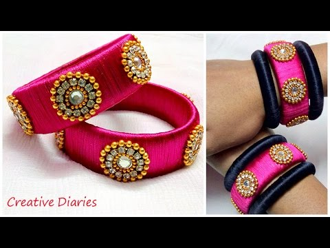 Video How to make Designer Silk Thread bangles at home I Latest Design I Creative Diaries download in MP3, 3GP, MP4, WEBM, AVI, FLV January 2017