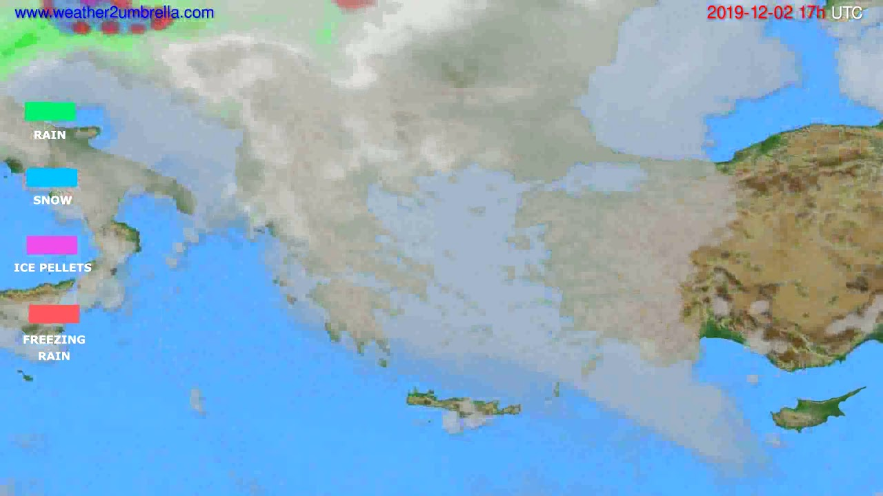 Precipitation forecast Greece // modelrun: 12h UTC 2019-12-01
