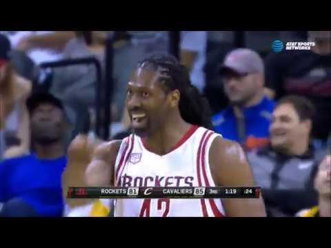 Nene hits a three-point shot in Cleveland
